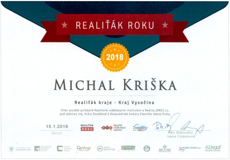 Realiťák roku 2018 pro kraj Vysočina